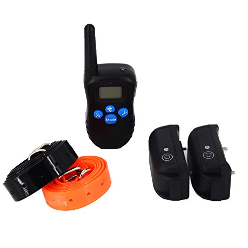 Outdoortop Rechargeable Remote Dog Training Shock Vibration Collar LCD Remote Shock Pet Dog Training Collars for Two Dogs