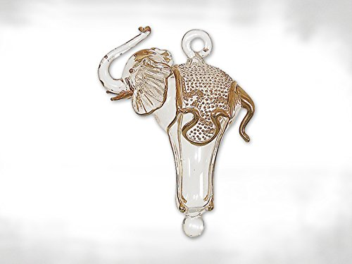 Clear and Gold Elephant Egyptian Glass Christmas Tree Ornament Decoration Egypt