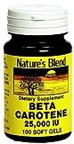 Nature's Blend Beta Carotene 25000 IU - 100 Soft Gels, Pack of 3