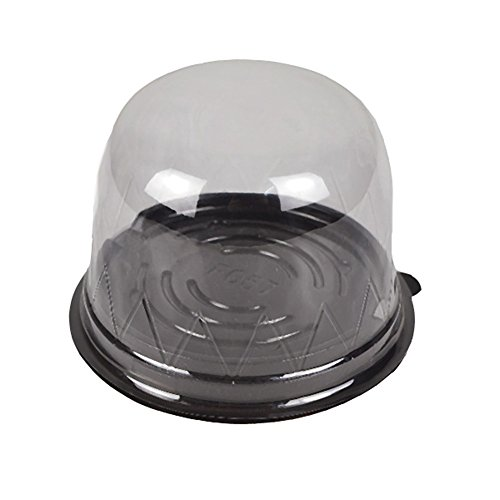 100 Clear Dome Lid Cupcake Muffin BPA-Free Containers Black Base Bake Sale Box