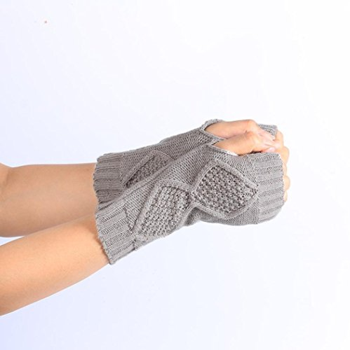 Guantes calientes para Mujeres,Ouneed ® Moda punto brazo Fingerless guantes caliente suave Gris