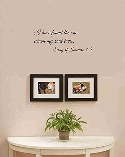 I have found the one whom my soul loves. Song of Solomon 3:4 Vinyl wall art Inspirational quotes and saying home decor decal sticker (Vinyl Transfers Wall)