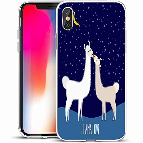 """VivYES Protective Phone Case Design for iPhone X/XS 5.8"""",Looking Brown Llama Alpaca Two Cute Kiss at Grass Night Under Starlit Sky Love Wildlife Lama Design,Anti-Scratch Soft Rubber Gel/TPU"""