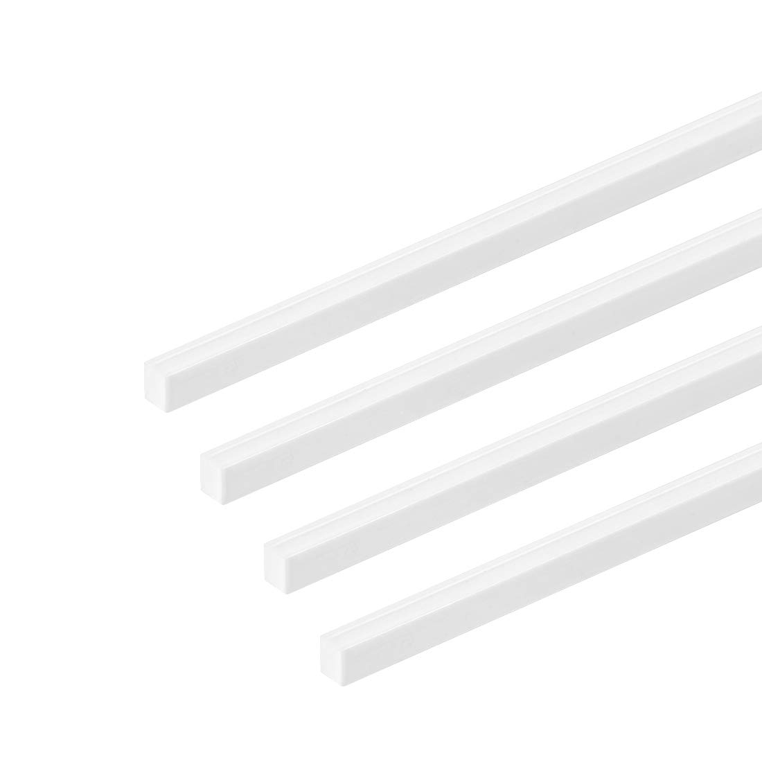 sourcing map 4mm /× 4mm /× 20 ABS Plastic Square Bar Rod for Architectural Model Making DIY White 4 pcs