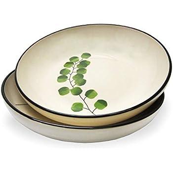 RoRo Leaf Motif Handmade Ceramic Stoneware Dinner Plate, 11 Inch Set of 2 (Pasta Bowl x 2, Eucalyptus)