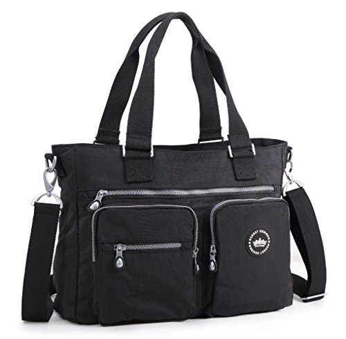 Crest Design Water Repellent Nylon Shoulder Bag Handbag, 14 inch Laptop Bag Notebook Briefcase Travel Work Tote Bag (Multi Pocket Tote Handbag)
