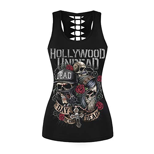 (Womens Skull Print Cut Out Workout Yoga Running Tank Tops Sleeveless Casual Shirts Tops (Day of The Dead 029,)