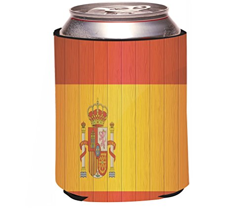 Rikki Knight Spain Flag on Distressed Wood Design Beer Can/Soda Drinks Cooler by Rikki Knight