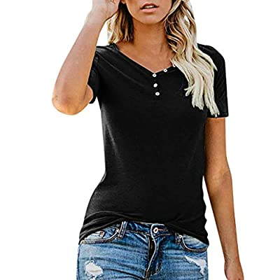 TWGONE V Neck T Shirts Women Short Sleeve Button Solid Blouse Tops