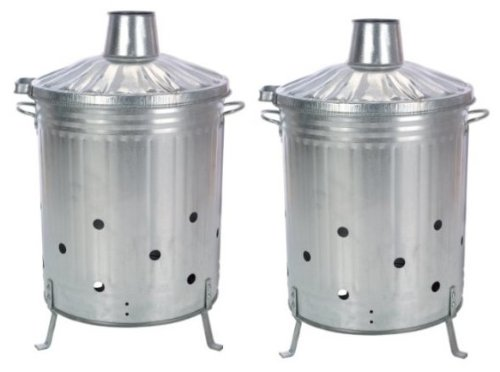 2 x NEW GALVANISED INCINERATOR FIRE BIN GARDEN WOOD RUBBISH LEAVES BURNER 90L LITRE