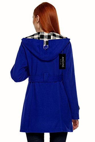 Azul Mujer Angvns Breasted Parka Lana Abrigo Largo Doble Invierno Capucha Chaqueta qEEwHvOgRn