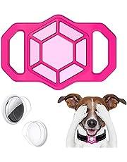leChivée hoesje compatibel met Airtag Pet Collar,Siliconen AirTag Houder voor Apple Airtag GPS Tracking Finder Hond Kat Halsband Loop Accessoires,Anti-verloren draagbare luchttag-beschermhoes (roze)
