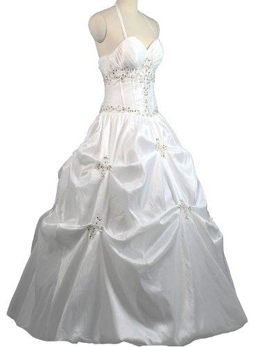 FairOnly Women's Halter Taffeta Bridal Gown Dress & Shawl, Bag