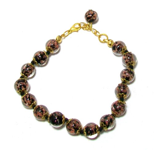Murano Glass Bead Bracelet - Just Give Me Jewels Genuine Venice Murano Sommerso Aventurina Glass Bead Strand Bracelet in Black, 8+1