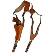 """Barsony New Saddle Tan Leather Cross Harness Vertical Shoulder Holster for 4"""" 38 357 44 Revolvers"""