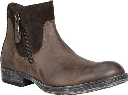GBX Mens Tacks Double Zipper Leather, Suede, Rubber Fashion Boots Brown