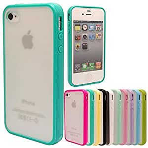 TOPQQ MAYLILAND? TPU Frame Scrub PC Back Cover Case for iPhone 4/4S (Assorted Colors) , Blue