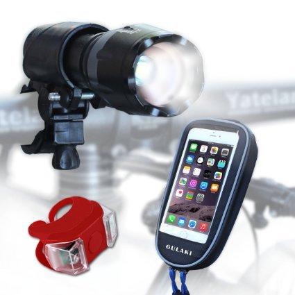 [3-Pack]Bike Light Set, Bike Headlight Super Bright, Waterprooof Bike Bag,Free Bike Phone Mount and Tail Light for Road, Racing & Mountain Bikes - Best & Brightest Waterproof Front and Back Bike Light