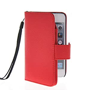 EVERGREENBUYING Case For Apple iPhone 5 5G 5S Flip Cover Leather Wallet Card Holder Pouch Etui Red