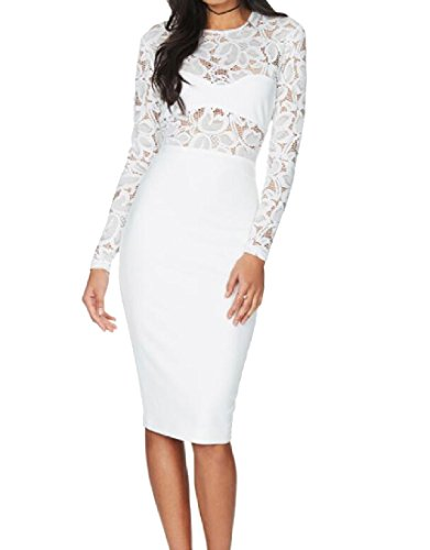 Long Coolred Midi Sleeve Solid White Stitching Women's Lace Dress Fitted BBnrqRSw5