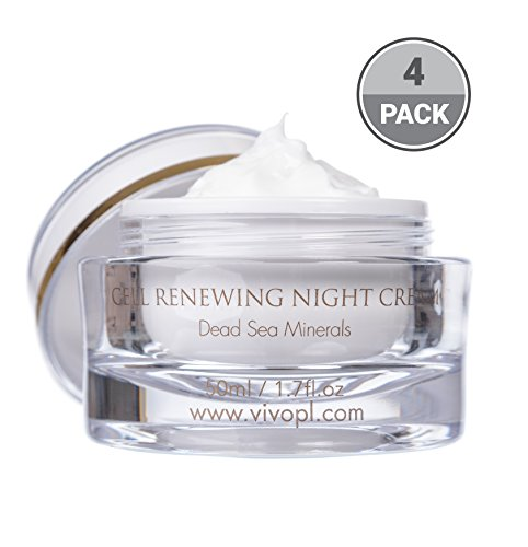 Vivo Per Lei Cell Renewal Night Face Cream, Look Younger, Not Oily or Sticky, 1.7 Fl. Oz, Pack of 4