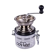 Gourmet Hand Powered Chrome Coffee Grinder with Latch Secured Canister
