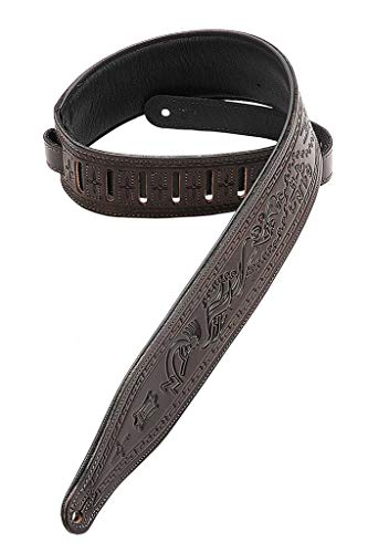 Carving Leather Tooled Guitar Strap - Levy's Leathers M17T03-DBR Carving Leather Tooled Guitar Strap,Dark Brown