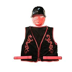 - 41vho 9NFpL - Halloween Kids Red Ninja Bundle Costume Mask, Vest, Toy Numchuks