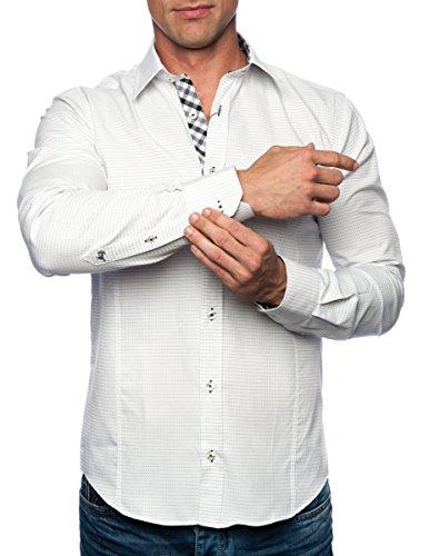 Michael & David Men's Casual Fashion Slim Fit L/S Dress Shirt White 2XL MD512