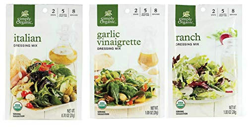 Simply Organic Salad Dressing Variety Pack (Set of 6 Individual Packets: 2 Italian, 2 Garlic Vinaigrette, 2 Ranch) - USDA Organic, Certified gluten-free, Kosher and - Free Mix Gluten Ranch
