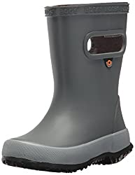 Bogs Skipper Kids Waterproof Rubber Rain Boot For Boys & Girls, Solid Gray, 5 M Us Toddler