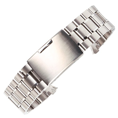 22mm Elegant Polish Stainless Steel Watch Band Bracelet Brushed Solid Links Folded Safety Clasp in Silver (Round Silver Metal Watch)