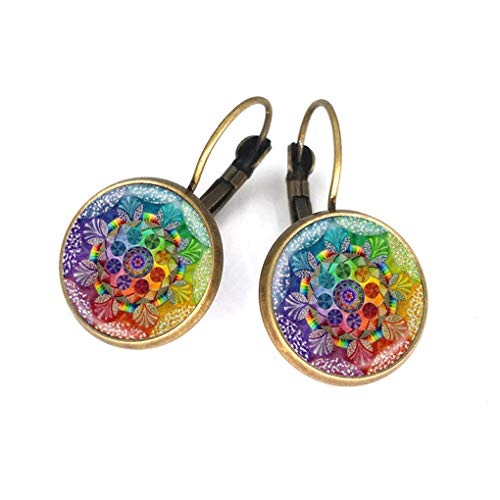 Silver Plated Venetian Murano Glass Earrings Mandala Lotus Earrings Symbol Buddhism Curve Dangle Earrings For Women