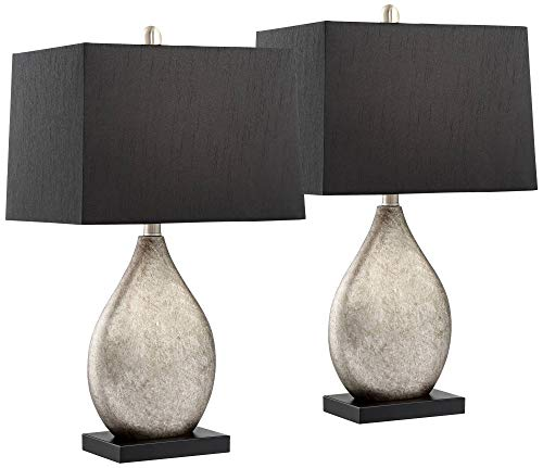 Marco Modern Table Lamps Set of 2 with Black Rectangular Shade for Living Room Family Bedroom Bedside Nightstand Office - Regency Hill (Black Lamps Set Of 2)