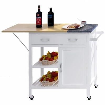 NORDIC Furniture Granite Island Rolling Kitchen Workstation