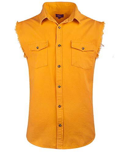 - NUTEXROL Mens Sleeveless Denim/Cotton Shirt Biker Vest 2 Front Pockets Yellow 3XL