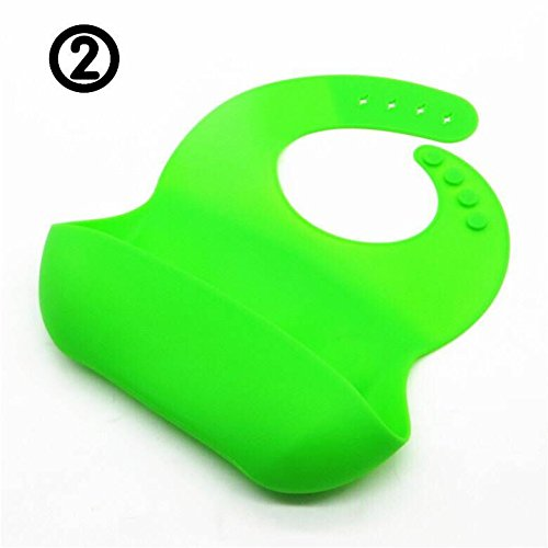 Baby Bibs Waterproof Silicone Bib - Comfortable and Adjustable Soft Feeding Bibs for Infants & Toddlers Easy to Clean, Dry, Portable and Keep Stains Off! Green
