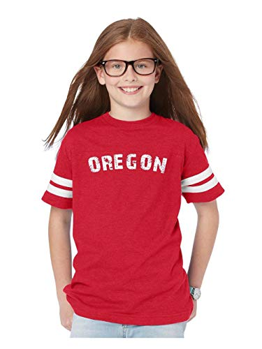 Oregon State Flag Portland City Traveler`s Gift Youth Unisex Football Fine Jersey Tee (YXSR) Red