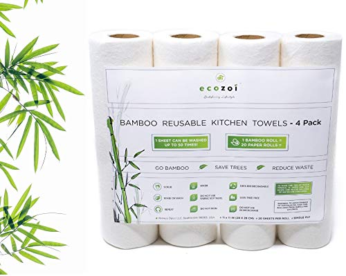 (Ecozoi REUSABLE Bamboo Paper Towels - 4 Pack | Equivalent to 80 Regular Rolls | Sustainable Eco Friendly Kitchen Paper Rolls | 50 Times More Usage than Regular Paper Rolls | Unpaper Towel Family Rolls)