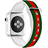 Chumei Sporty Band for Apple Watch, Soft Silicone Replacement Strap Band for Apple Watch iWatch Series 1 Series 2 Series 3 (38MM S/M White/Green/Red)