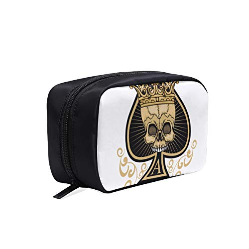 The Skeleton Of Spade Trump In Poker Portable Travel Makeup Cosmetic Bags Organizer Multifunction Case Small Toiletry Bags For Women And Men Brushes Case -