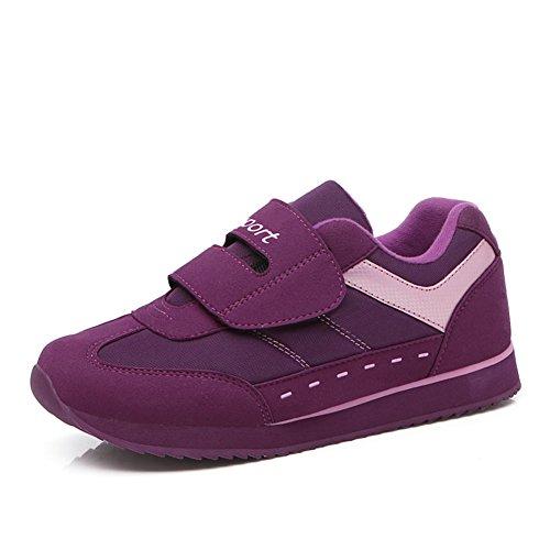 Scurtain Womens Casual Lightweight Slip On Outdoor Sneaker Elderly Middle-Aged Walking Shoes Purple CAsHC