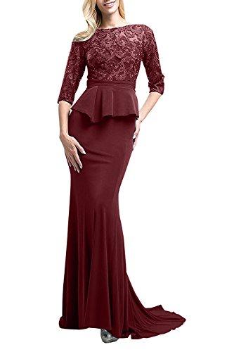 La_mia Braut Langes Meerjungfrau Abendkleider Brautmutterkleider Spitze Figurbetont Festlichkleider aus Satin Burgundy