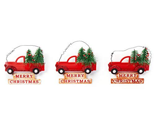 Red Bottle Brush Tree - Clever Home Red Truck Christmas Tree Ornaments Merry Christmas Sign Bottle Brush Trees - Set of 3