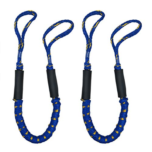 Jranter Bungee Cord Rope Dock Lines Stretches Shock Absorbs Marine Mooring Rope 3.5 ft Blue& Yellow Spot 2 Pack