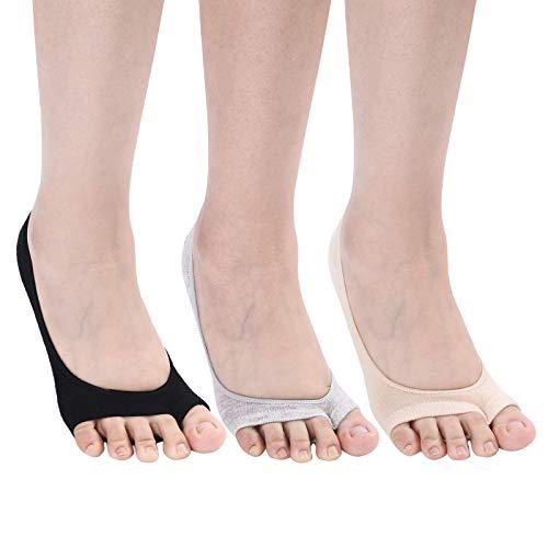 Flammi Women's 6 Pairs Peep Toe Liner Socks No Show with Nonslip Heel Grip (2black,2beige,2grey)