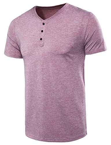 (VANCOOG Men's Casual Short Sleeve Henley T-Shirts Baseball Shirts Tee-Wine Red-S)
