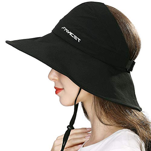 Top Hat Fashion - Fishing Sun Hat for Men Women Nylon UV Protective Open Top Foldable Hunting Hiking Gardening Outdoors Black