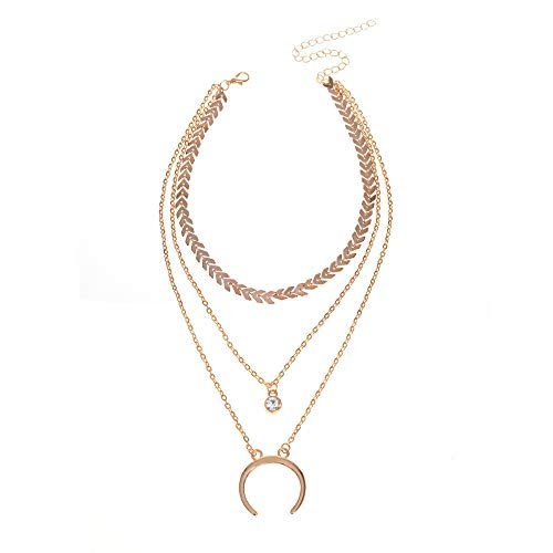 Clearance Multi-Storey Crescent Pendant Clavicular Chain Metal Necklaces Jewelry