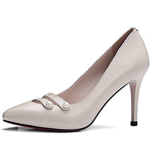 Nine Seven Cuero Moda Puntiagudos Zapatos de Tacón de Aguja de Trabajo para Mujer Beige